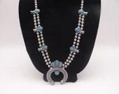 Vintage Southwest Style Squash Blossom Faux Turquoise Blue and Silver Tone Necklace Southwest Style Necklace