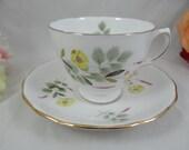 Vintage English Bone China Crown Royal Mid Century English Teacup and Saucer Set English Tea cup