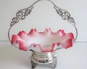 Antique New Amsterdam Bride's Bowl with Fluted Cranberry Red and White Glass Bowl and an Ornate Silverplate Frame for Bride's Bowl