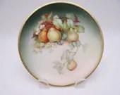 "Vintage Signed ""Black"" Thomas Sevres Bavaria Hanging Pears Plate Lovely"