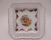 """Vintage German """"Courting Couple"""" Reticulated Lattice Square Serving Dish - Charming Jewelry or Ring Dish"""