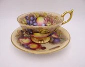 """VIntage Aynsley English Bone China """"Orchard Gold"""" Teacup and Saucer Set Delightful Tea Cup"""