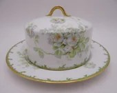 Vintage Factory Decorated GDA Limoges France White Rose Covered Butter or Cheese Dish made for Tilden Thurber Co Providence R.I.