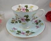 Vintage Aynsley English Bone China Teacup English Blue Teacup and Saucer Delightful Tea Cup