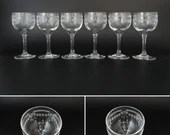 Set of 6 Vintage Cut Crystal Liquer or Sherry or Cordial Glasses for your Elegant Barware Collection