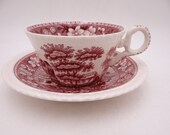 """Vintage Spode Made in England """"Spode Tower"""" Pink Teacup and Saucer Set Nice English Tea Cup - 5 Available"""