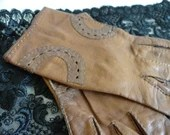 Vintage Brown Faux Leather Gloves with Stitched Circle Details - Size 6.5-7