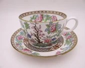 """c1905-1925 Antique Aynsley """"The Indian Tree"""" English Bone China Teacup and Saucer Set Lovely English Tea Cup Marshall Field & Company"""