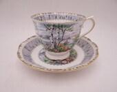 "Vintage English Bone China Royal Albert ""Silver Birch"" English Teacup and Saucer Set English Tea Cup"