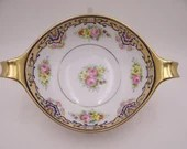 Lovely Antique Hand Painted Nippon Gold Outlined Colorful Pink Rose Serving Bowl