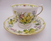 """Vintage English Bone China Royal Albert Country Bouquet Collection """"Warm Sunrise"""" English Teacup and Saucer Set English Tea Cup"""