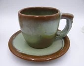 Vintage Frankoma Pottery Lazy Bones Green Teacup and Saucer American Tea Cup