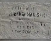 Rare London Old Admiralty Building Mail Bag - Return to Foreign Mails (N) Ministry of Defense Old Admiralty Building - Old Canvas Mail Bag