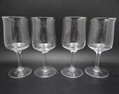 """Set of 4 Vintage Lenox Desire Platinum Rimmed Wine Glass Wine Goblet - 6.25"""" Wine Glass Wine Goblet - 2 Sets Available"""