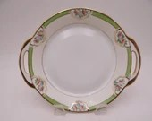 Lovely Antique Hand Painted Nippon Green Floral Small Serving Bowl