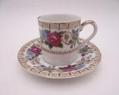 Vintage Japanese Richard Demitasse Cappuccino Floral Teacup and Saucer Set Lovely Tea Cup
