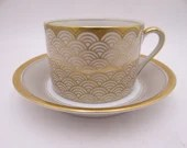 """Vintage American Fitz and Floyd """"Shinmonzen"""" Teacup and Saucer Set Ivory and Gold Tea Cup Coffee Cup"""