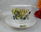1960s Vintage English Queen Anne Bone China Teacup Yellow Rose  English Teacup and Saucer English Tea cup 8291