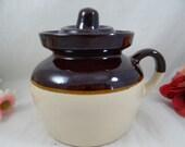 Vintage Stoneware Bean Pot RRPCO Roseville Robinson Ransbotton Co Brown and White Glaze