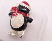 Cute Vintage Penguin Brooch Pin with Red Scarf and Hat with White Tummy - Wonderful Winter or Christmas Holiday Brooch
