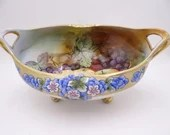 Stunning Antique Hand Painted Nippon Gold Outlined Colorful Floral Fruit or Centerpiece Bowl