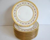Spectacular c1909-1938 Vintage Hand Painted Union Ceramique Limoges France made for M.F. & Co. Marshall Field Set of 12 Dinner Plates
