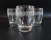 Set of 3 Vintage Clear Elegant Orange Juice or Shot Glasses with Laurel Leaf Chase Design an addition to your Elegant Barware Set