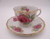 1950s Vintage Japanese Purple Rose Teacup and Saucer Set Lovely Tea Cup