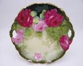 Stunning 1920s Vintage PT Bavaria Tirschenreuth Pink and Red Rose Cake or Serving Cabinet Plate