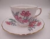 Vintage 1960s Colclough English Bone China Tea Cup Mid Century English Teacup and Saucer Set