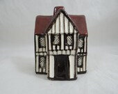 "Rare Brown Version Vintage Early Model Suffolk English Cottage Figurine #12 ""Town House""  Mudlen End Pottery Made in England"