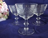 Set of Three Etched Crystal Glass Cordial Liquer Glasses - So Beautiful