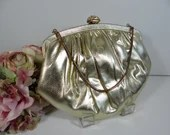 Vintage HL USA Harry Levine Gold Evening Bag with Rhinestone Clasp and Attached Chain Purse  Gold Handbag a Classic Vintage Accessory