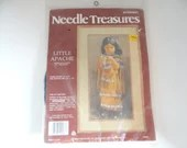 """Vintage Needle Treasures Little Apache Crewel Stitchery Kit #00586 an Unopened Kit NOS 10"""" by 20"""" Finished Size - No Frame or Mat"""