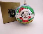 "Vintage Kurt Adler Polonaise Hand Blown Glass Christmas Ball Ornament ""Mickey Mouse Disneyland Ball"" AP 1152 in Original Box"