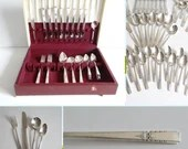 """1940 Wm A Rogers """"Lady Drake""""  47 Piece Silverplate Flatware Set Service for 8 & 4 Piece Place Settings in Box with Viande Grille Forks"""