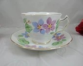 Mid Century Hand Painted Royal Swansea English Bone China Teacup and Saucer Set Footed English Teacup and Saucer Charming Tea Cup