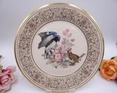"Vintage Lenox Boehm Birds Plate 1980 ""Black-Throated Blue Warbler"" by artist Edward Marshall Boehm"