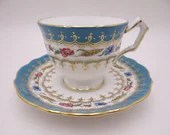 """Vintage Aynsley English Bone China """"2466"""" Blue Green and Gold Swirl Teacup and Saucer Delightful Tea Cup"""