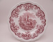 "RARE Error Plate Vintage Spode Archive Collection Cranberry Dinner Plate ""Ruins"" With Pagoda Description"