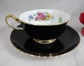 1950s Vintage Royal Chelsea English Bone China Teacup Black English Teacup and Saucer  Black Tea Cup