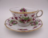 Vintage Japanese Purple Orchid Teacup and Saucer Set Lovely Tea Cup