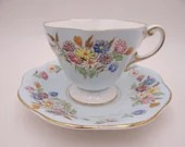 1930s Hand Painted Foley English Bone China Blue Floral English Teacup and Saucer Set Elegant English Tea Cup