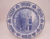 """1949 Wedgwood English Bone China Yale University """"Old Chapel 1824-1896"""" Blue and White Dinner Plate"""
