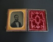 Antique Daguerreotype or Ambrotype Photograph of Bearded Man in a Suit with Cravat in Frame ca 1830s to 1860s