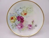 1900s Hand Painted Jaeger Co Bavaria Germany J&C Large Rose Bouquet Serving Plate or Charger - Great Wall Decor