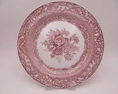 "Vintage Spode Archive Collection Cranberry Dinner Plate ""Byron Groups"""