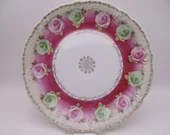 Vintage Large Pink and Green Rose German Serving Plate