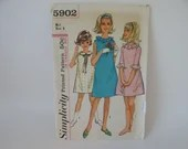 Vintage Simplicity Pattern #5902 - Girl's Dress Pattern - Size 8 - Cut But Complete - 1950s Vintage Sewing Dress Pattern - Classic Style