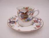 "c1891 Antique Royal Worcester ""Pekin"" English Bone China Teacup Cappuccino Demitasse English Teacup and Saucer set Tea Cup Rd No.608482"